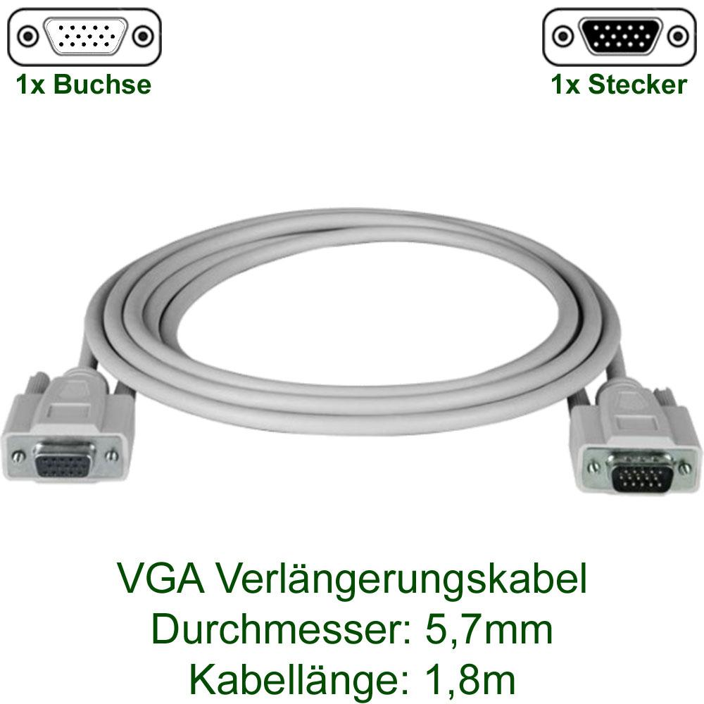 Kabel, Adapter & Hubs : VGA Monitor Kabel - 1,8m (Stecker auf Buchse)