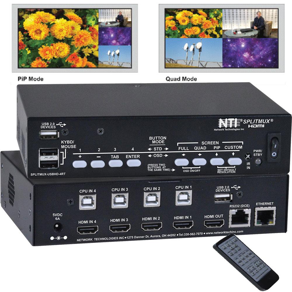 4-Port 2K KVM Multiviewer   SPLITMUX-USBHD-4RT von NTI