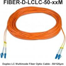 LC-LC Duplex Multimode Fiber Patch Cable, 50 Micron