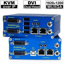 kvm-tec MASTERflex Dual MV2-Set: Dual Head DVI-D/ DVI-I/ USB2.0 und Audio KVM Extender over IP (Set) in Kupfer | 2x 1920x1200@60Hz (Video) und 480Mbit/s (USB tranparent) bis 150m via CAT-Kabel