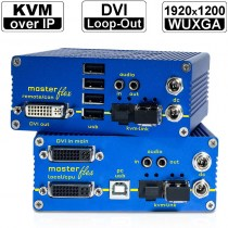 kvm-tec MASTERflex Single/ Redundant Fiber MV1-F Set: DVI-D/ DVI-I/ USB2.0 und Audio KVM Extender over IP (Set) in Fiber | 1920x1200@60Hz (Video) und 480Mbit/s (USB tranparent) bis 160km über ein Glasfaser-/ LWL-Kabel