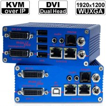 kvm-tec MAXflex Dual MA2-Set: Dual Head DVI-D/ DVI-I/ USB2.0 und Audio+RS232 KVM Extender over IP (Set) in Kupfer | 2x 1920x1200@60Hz (Video), 480Mbit/s (USB tranparent), Audio (in CD Qualität) und RS232 (tranparent) bis 150m via CAT-Kabel