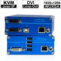 kvm-tec SMARTflex Single SV1-Set: DVI-D/ USB2.0 Extender over IP (Set) in Kupfer | 1920x1200@60 bis 150m