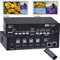 SPLITMUX-USBHD-4RT: 4-Port HDMI/USB KVM Multiviewer - HDMI Quad Screen Splitter mit intergriertem KVM-Switch für Auflösungen bis 2K Cinema, 1080p und 1920x1200 mit jewils 60 Hz.