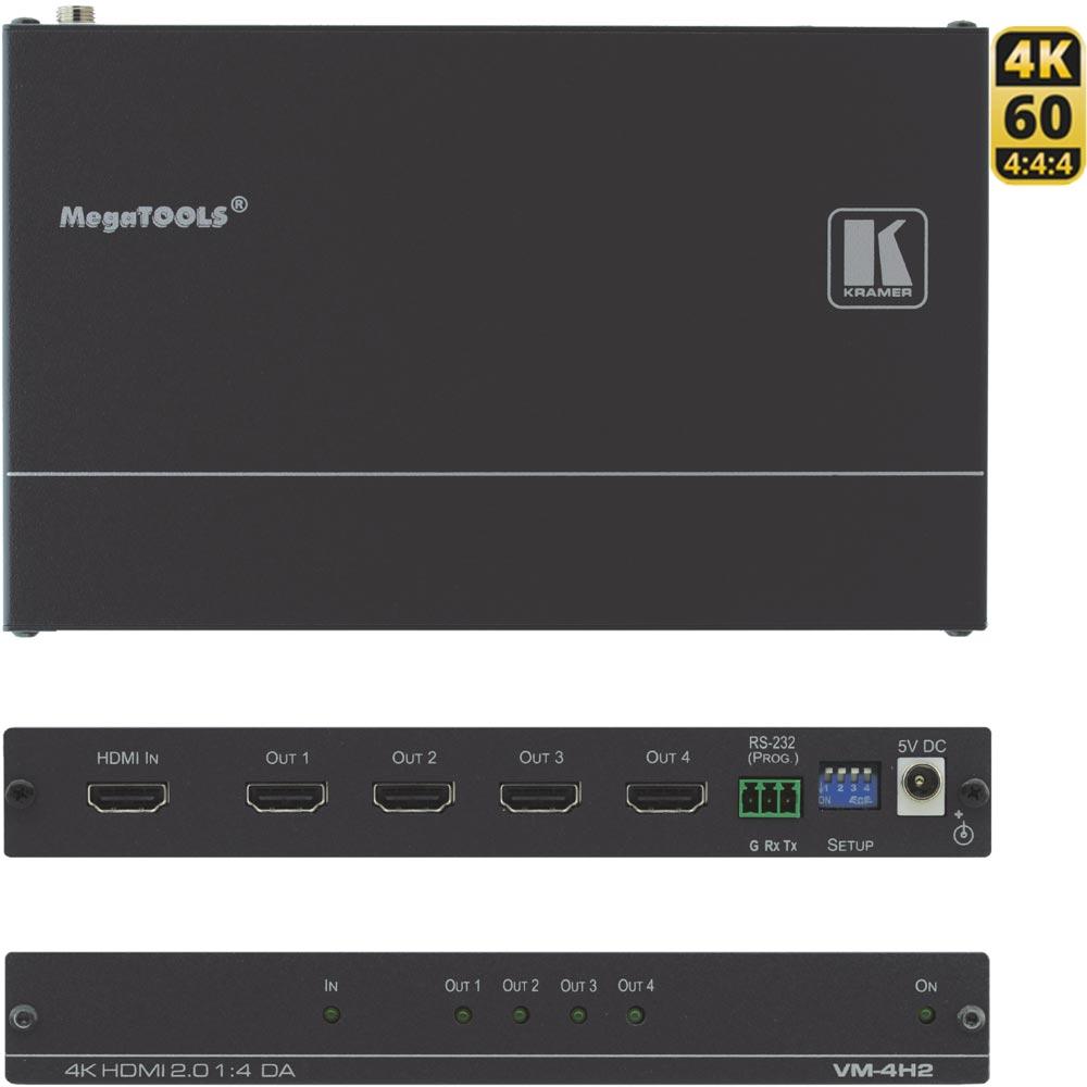 Kramer VM-4H2: 4K HDMI 2.0 1:4 Verteilverstärker - 4K@60 (4:4:4)